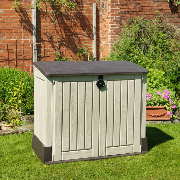 Store It Out Midi Wood Effect Pent Plastic Garden Storage Chest | Departments | DIY at B&Q