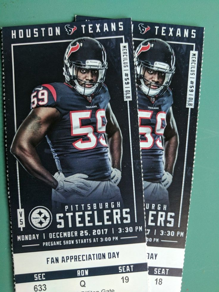 2 HOUSTON TEXANS vs Pittsburgh Steelers tickets SEC 633 | eBay