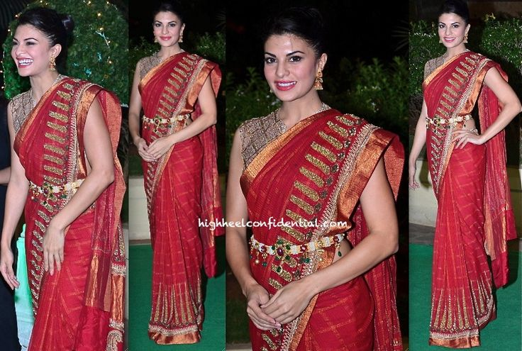 It was an Anand Kabra sari for Jacqueline while at a recent do. She wears the sari well and looked good! However, do have a minor gripe with the addition of kamarbandh/vaddanam… It takes away more than it adds to the look; too busy for my liking. This sari didn't really need it.