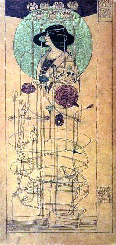 Jugendstil - C. R. Mackintosh - Innenarchitektur Entwurf für eine Wanddekoration