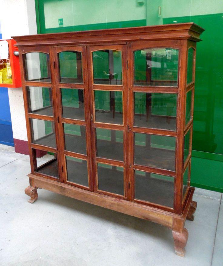 Vetrina in legno esotico inizio '900 da centro con antine alta 155 cm lunga 150 cm