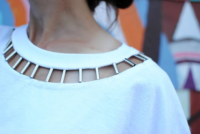 DIY: Beaded Cut Out Tshirt