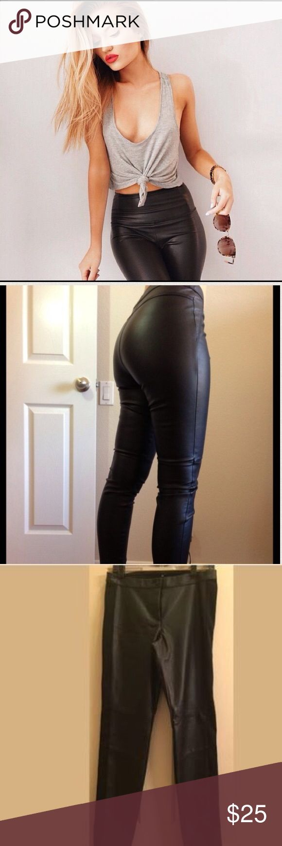Leather High Waisted Leggings  Leather High Waisted Leggings. NWOT. Size small. Run a little longer. I'm short so they look cute kind of bunched up at the bottom with high heels. Super sexy, makes your butt look amazing!! Emerald Sundae Pants Leggings