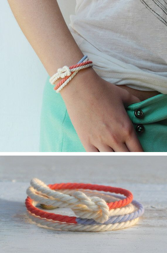 Spring bracelet double white lavender and coral cord marine knot bracelet friendship jewelry - DOUBLE MANEGE by AMEjewels on Etsy https://www.etsy.com/listing/223216794/spring-bracelet-double-white-lavender