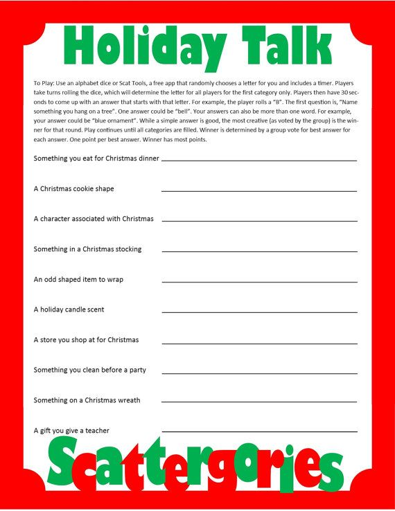 Looking for an activity to do on Christmas this year? This CHRISTMAS SCATTERGORIES game is a perfect addition to a December birthday party, classroom party or Christmas day with the family. Print out a Christmas Themed category list for each player. Use an alphabet die or download the free Scat Tools app to give players a random letter. The INSTANT DOWNLOAD game includes 22 Christmas themed categories on two pages. Game directions written on first page. Please note that this is for an…