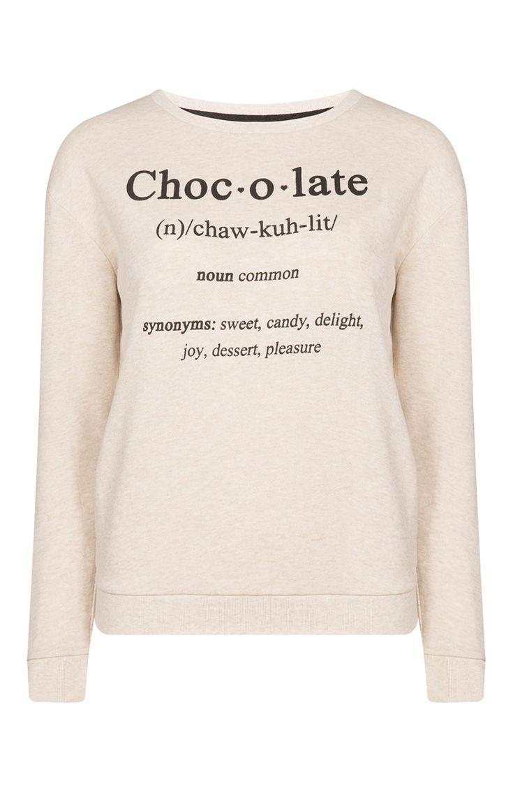 Sweat crème à inscription Chocolate