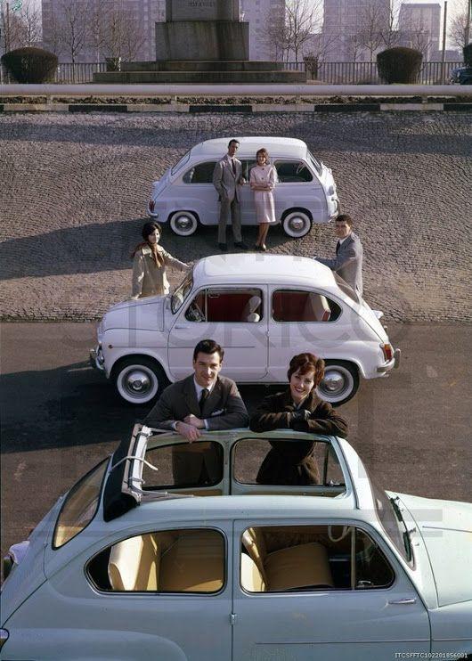 "Centro Storico Fiat on Twitter: ""1960. Fiat 600 convertible, Fiat 600 saloon and Fiat 600 Multipla. Torino. """