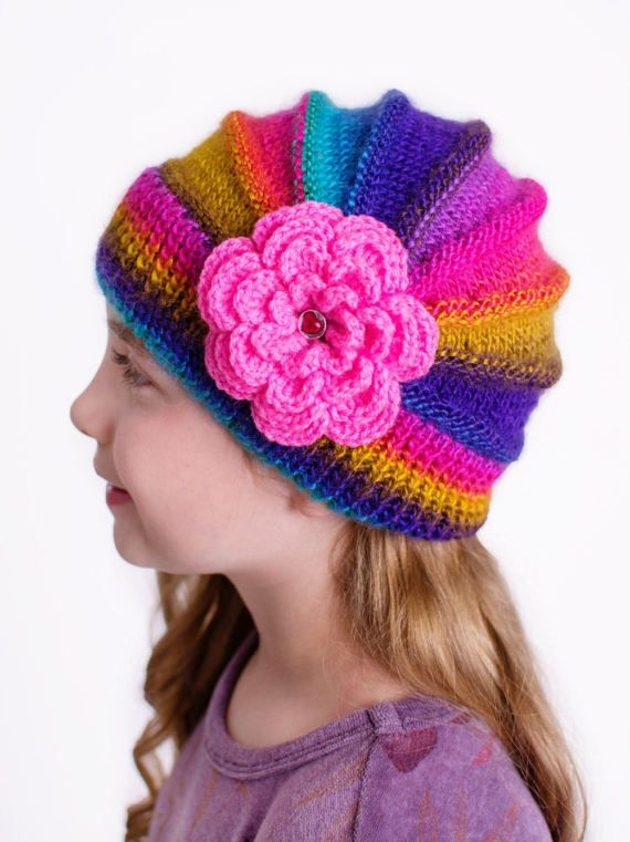 Knitted flower cap hat lovely warm autumn by DosiakStyle on Etsy, #KnittedChildren'shat #caprainbow #childrencap , #colorfullyhat