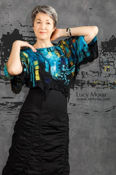 Nightown / Art to Wear / Nuno Felt Top  by Lucy Morar  www.only-lu.com