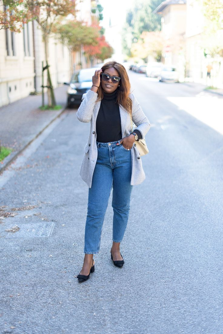 Mom jeans | Wool Blazer | Turtleneck | Kitten heels | Quay australia Kitty