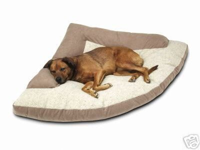 Need one for Moose! Corner Dog Bed with Bolster - XXL - 44x64x44 - Khaki.