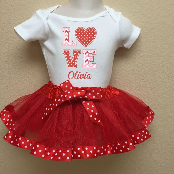 Valentineu0027s Day Outfits  Girls, Baby Girls  Personalized Valentineu0027s Day   LOVE Red And