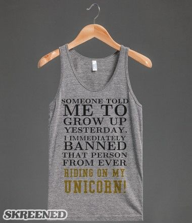 Can't ride my Unicorn tank top tee t shirt