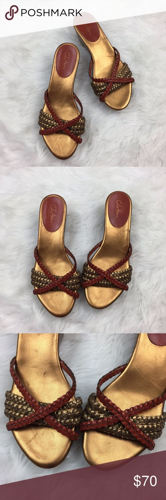 🌞Cole Haan Metallic Braided Slip-on Wedge Sandals Cole Haan Women's Nike Air Metallic Braided Slip-on Wedge Sandals Size 8  2 inches tall  This has been gently worn with no major flaws.  Please refer to photos for more details. Cole Haan Shoes Sandals