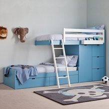 KIDS 3 TIER TRAIN BED with Wardrobe Storage.  Boys Beds | Unique Childrens Beds | Unusual Bed for Boys | Unique Bunk Bed