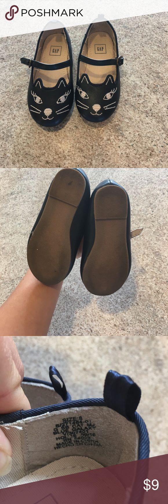 Gap toddler cat shoes Gap toddler size 8 navy blue with tan stitching cat shoes. These are buckle shoes excellent condition smoke-free clean home. Only worn twice GAP Shoes Dress Shoes