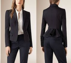 Designer suits for women BURBERRY: If a classic one button blazer and a manly pair of well refined trousers are not enough to satisfy your suits craving, listen to me: the lovely peplum on the back of this blazer is pure aristocracy. #womenpantssuits