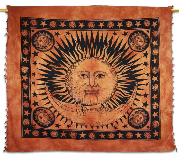 Beautiful Indian Screen Printed Cotton Sun, moon and star Print Tapestry or Bed Cover in Twin size. ..this is img