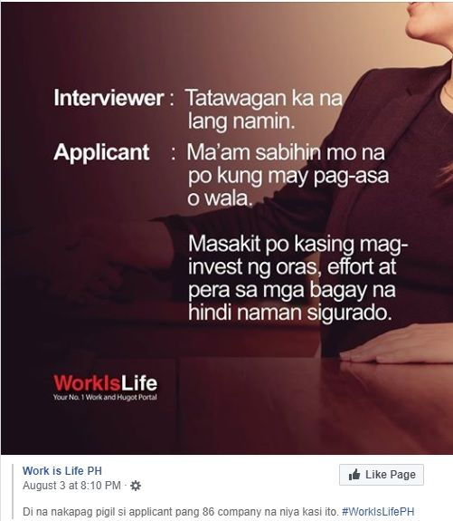 Translation: Interviewer: We'll call you soon Applicant: Ma