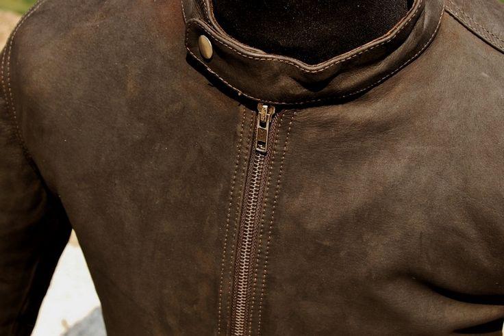 Giubbotto pelle marrone stile marlboro classic tg
