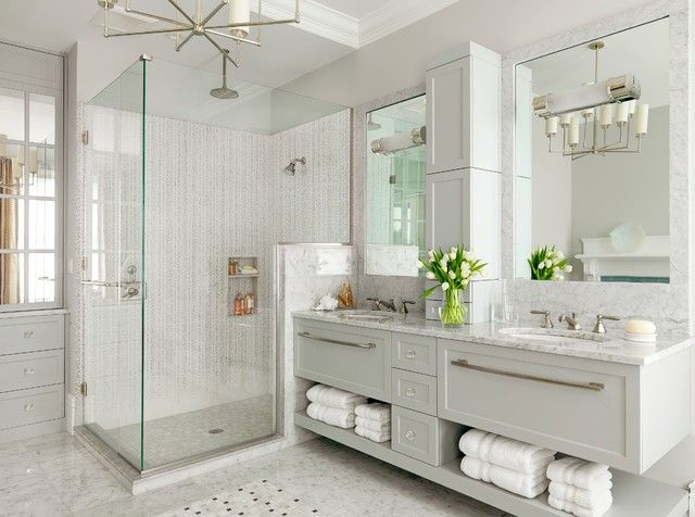 Great Modern Small Bathroom Design With Nice Shower Enclosure And White Floating Vanity