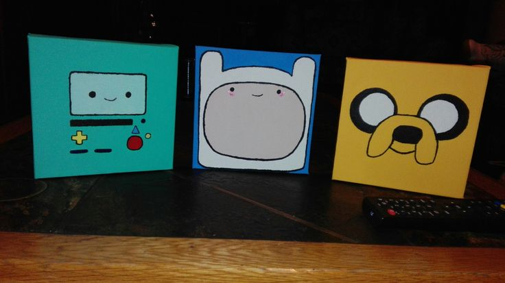 #AdventureTime #Finn #Jake #BMO #Cartoon #Canvas #Painted #Cute #DIY