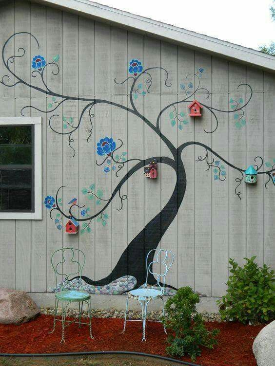Mural with birdhouses
