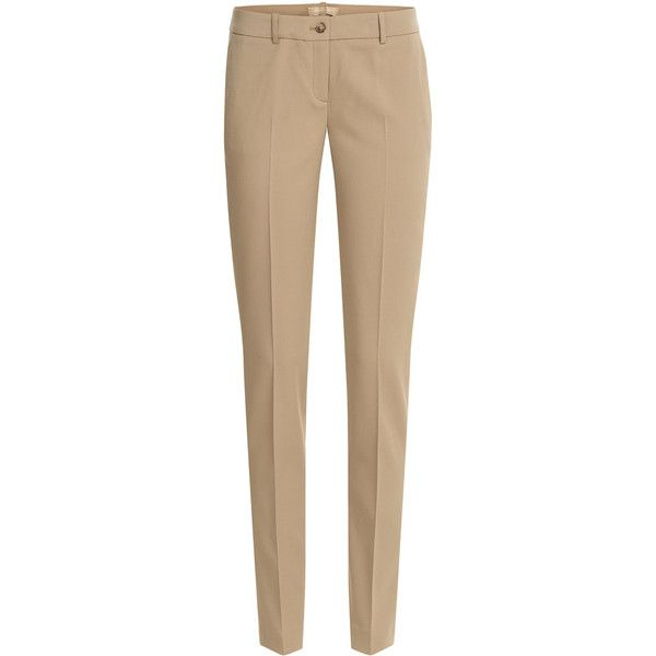 Michael Kors Collection Straight-Leg Wool Trousers (17.675 RUB) ❤ liked on Polyvore featuring pants, bottoms, trousers, брюки, camel, slim fit pants, straight leg pants, slim fit trousers, camel pants y wool trousers
