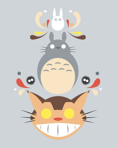 Totoro and Friends Stretched Canvas