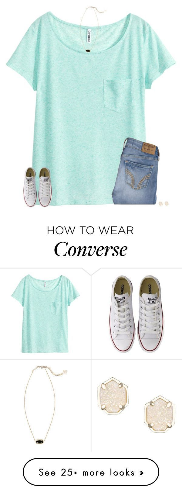"""""""goodmorning"""" by secfashion13 on Polyvore featuring H&M, Hollister Co., Kendra Scott and Converse"""