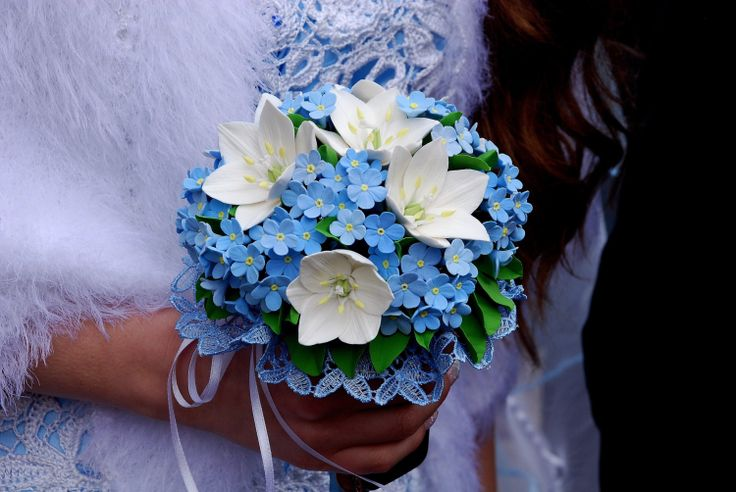 Forget me not bouquet with flowers