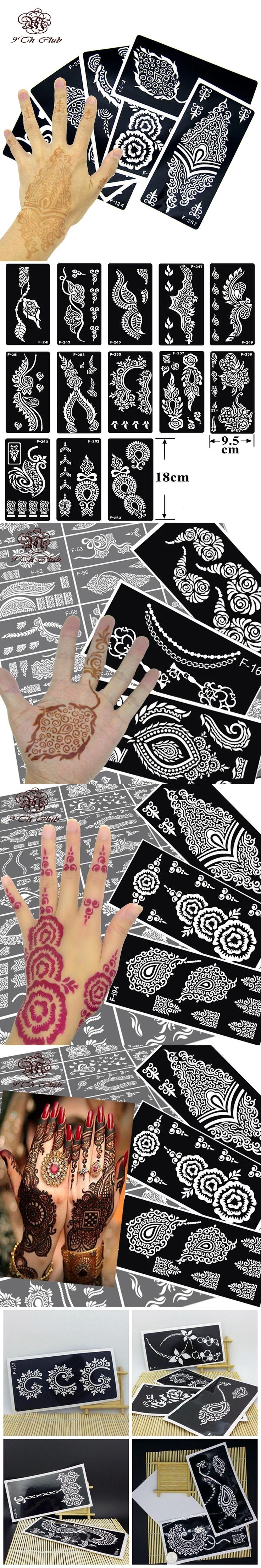 8Pcs Mehndi Henna Hand Tattoo Stencils, Temporary Glitter Airbrush Indian Henna Tattoo Templates/Tattoo Stencil For Painting