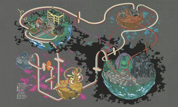 """""""It's a bit of a sinister landscape,"""" author and illustrator Andrew DeGraff says of his hand-painted map inspired by the 1963 sci-fi classic A Wrinkle in..."""