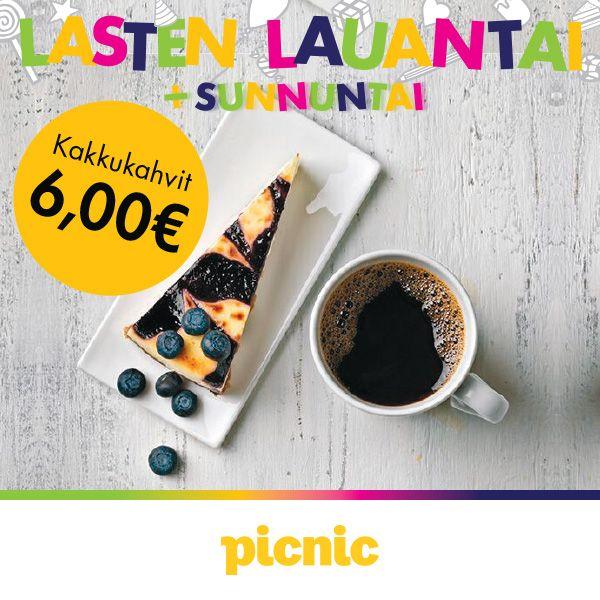 PICNIC Mikä tahansa kakkupala ja kahvi 6 € (norm. 8,40 €).