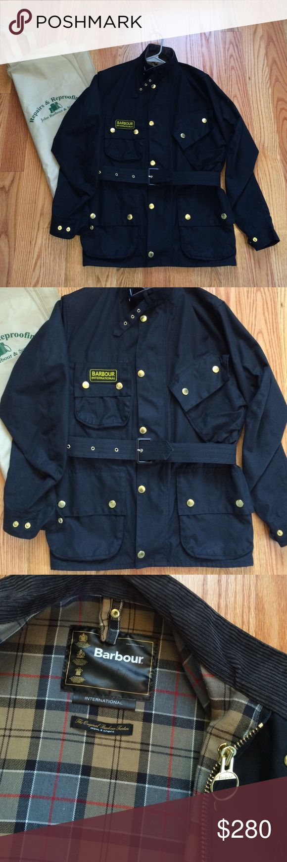 Barbour International jacket Men's size 34. Four front pockets all with buttons. Belt around waist. One inside pocket. Corduroy lined neck. Great condition. Comes with garment bag. Barbour Jackets & Coats Military & Field