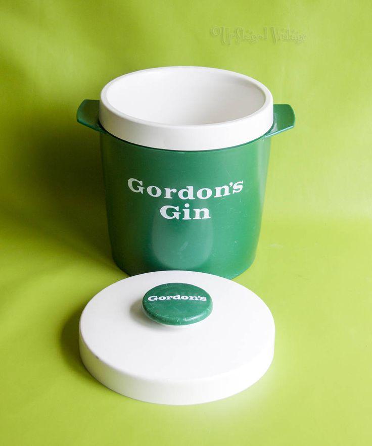 Vintage Retro 1960s/70s GORDON'S GIN Green Plastic Ice Bucket RARE by UpStagedVintage on Etsy