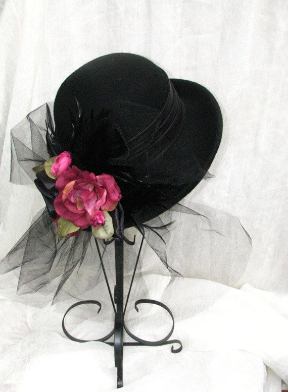 Ladies Tea Party Hats | ... Style Victorian Black Hat Ladies Hat Womens Tea Party Kentucky Derby