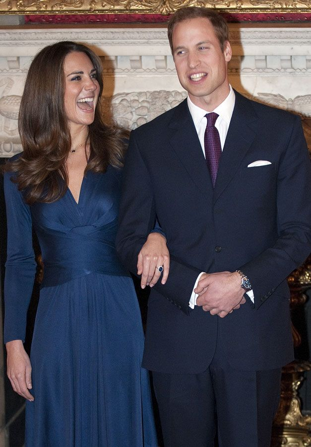 Prince William and Kate Middleton - - Prince William and Kate Middleton: Relationship in Pics - Prince William - Kate Middleton - Royal Wedding - Marie Claire - Marie Claire UK British brand Issa were overwhelmed by when the Duchess of Cambridge wore their blue silk 'Sapphire London' dress for her own engagement interview back in 2010. For Issa, overall sales doubled following Middleton's initial appearance, after an immediate sell-out of the dress