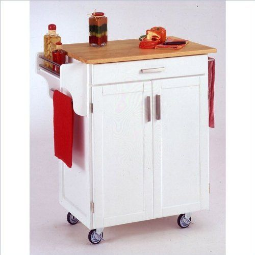 Home Styles 9001-0021 Create-a-Cart 9001 Series Cuisine Cart with Natural Wood Top, White, 32-1/2-Inch by Home Styles. $221.79. Measures 32-1/2-inch width by 18-3/4-inch depth by 35-1/2-inch height. Available in white color. This home styles 9001 series cuisine kitchen cart is a unique and refreshing solution for kitchen utility. Made of solid wood, natural asian hardwood with natural wood top and utility drawer. This cart is having a two door cabinet with an adjustable shel...