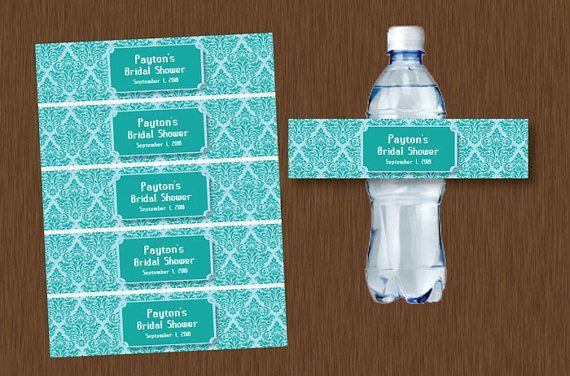 Instant Download Blue Teal Light Blue Damask Water Bottle