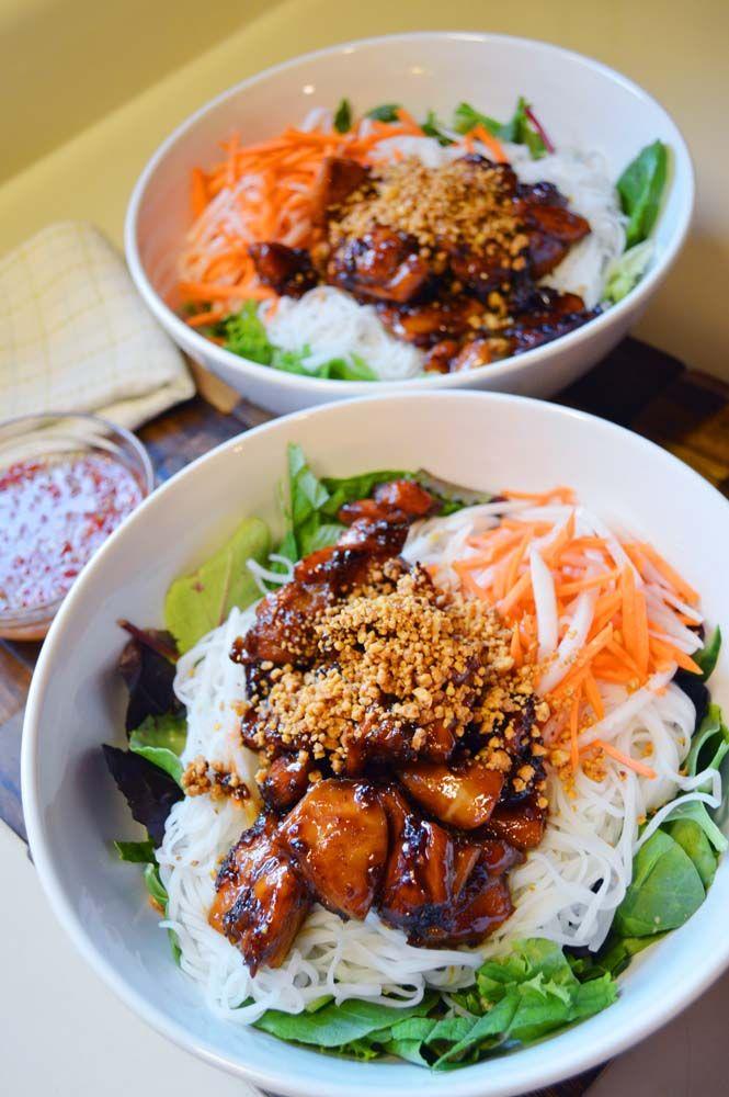 bún thịt nướng gà (bún gà nướng ) : Vermicelli Bowl : Vietnamese Noodle Bowl : Vietnamese Noodle Salad - Asian at Home