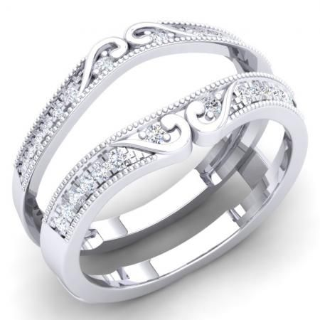 This Glorious Enhancer Ring Features Tendrils Of 10K White Gold Curling Amidst Dazzling Round Diamonds Above