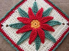 Ravelry: Granny Poinsettia (Flor de Nochebuena) pattern by Bigú Osuna...free pattern..Would make great hot pads!