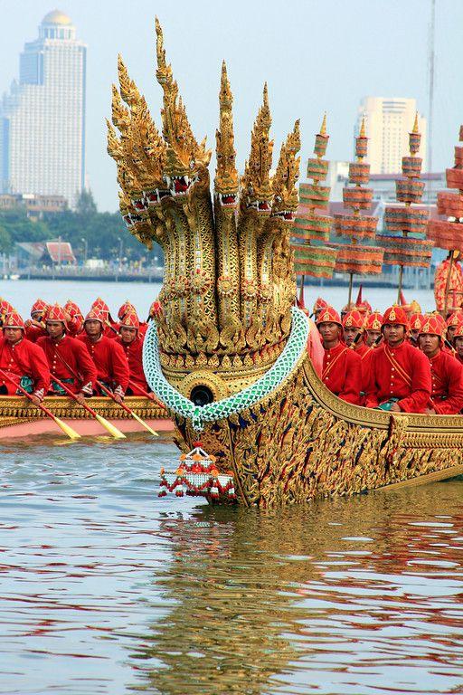 Royal Barge Procession Bangkok , Thailand  .must see to appreciate.