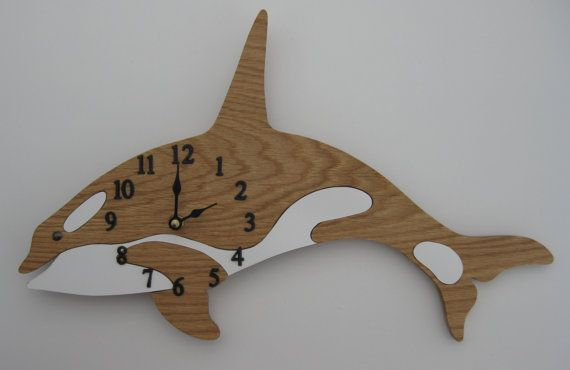 Wall Clock Orca or Killer Whale with Quartz by ScrollMasterDesigns