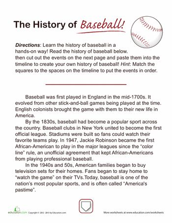 Free! History of Baseball read and then cut apart to create a time line for sequencing practice!