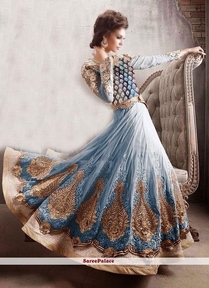 Turquoise Shaded Zari Work Net Anarkali Suit