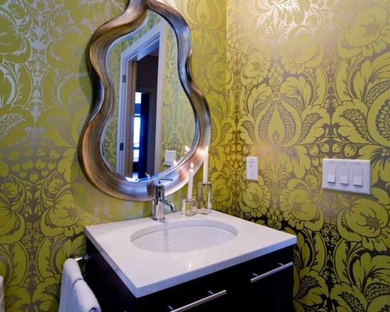 Gorgeous Damask Wallpaper And A Funky Mirror