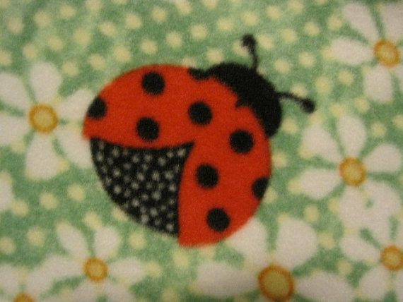 Lady Bugs on Green Daisies with Black by CutnTiedbyRedYvette...Lady Bugs on Green Daisies with Black Blanket - Ready to Ship Now