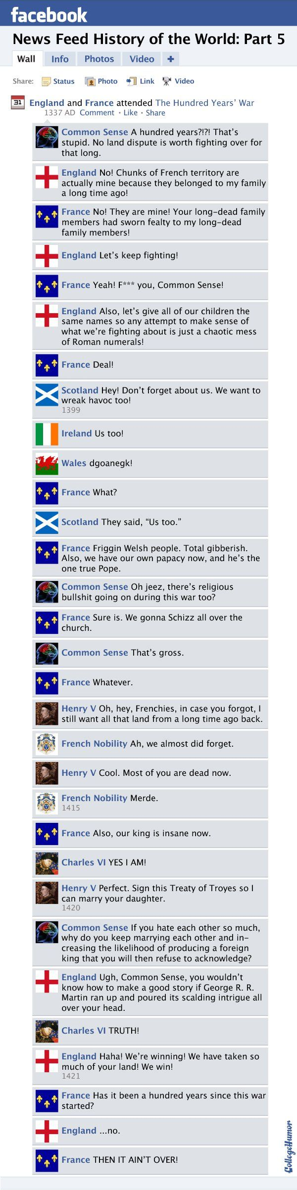 Facebook News Feed History of the World: Hundred Years' War to the New World - CollegeHumor Post